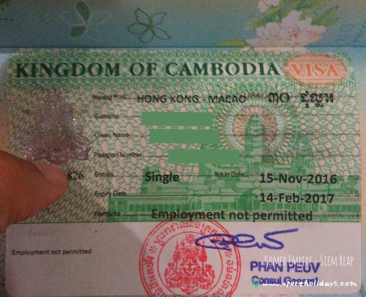 吳哥窟暹粒簽證 VISA